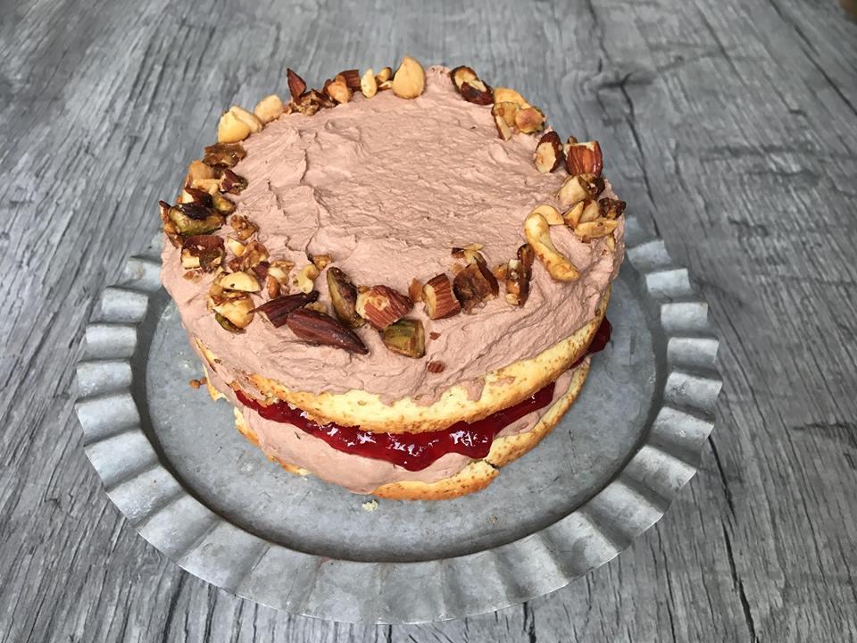 Lavkarbo | Mazarinkake m/ sjokolade & bringebær
